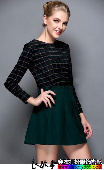 格纹上衣半身裙套装