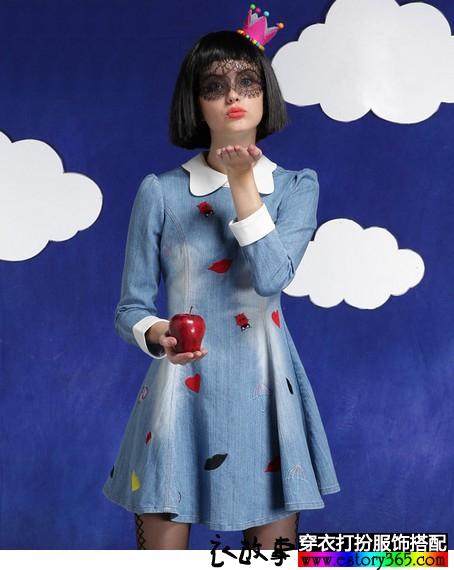 娃娃领绣花牛仔长袖连衣裙