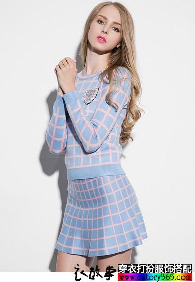格子针织裙子套装