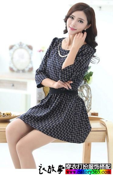 七分袖格纹长袖连衣裙