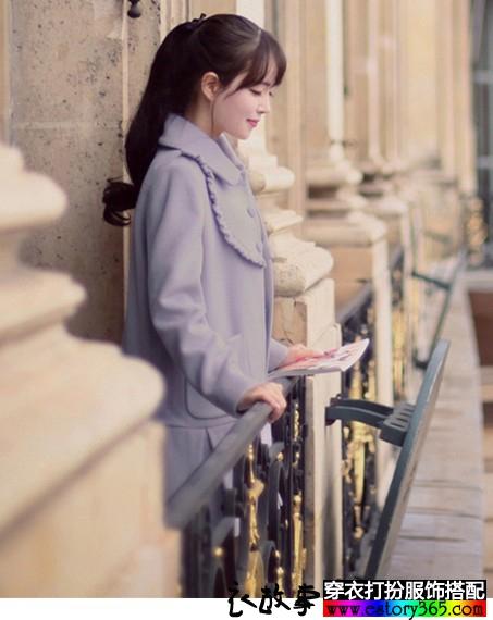 直筒紫色呢子大衣