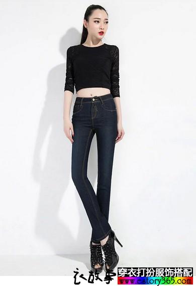 中腰显瘦直筒小脚裤