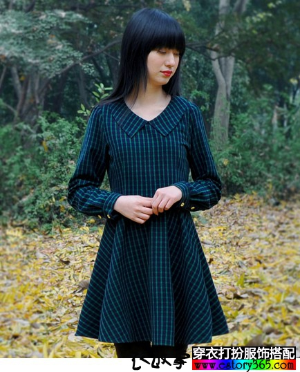 日系学院风高腰长袖连衣裙
