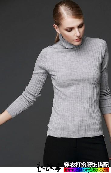 高领紧身纯色羊毛衫