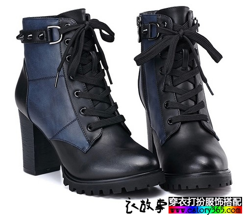 高跟系带铆钉靴