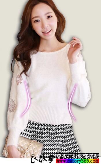 蕾丝刺绣针织衫