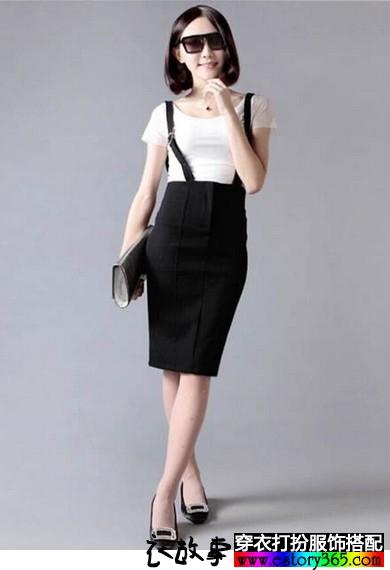 职业装背带铅笔裙