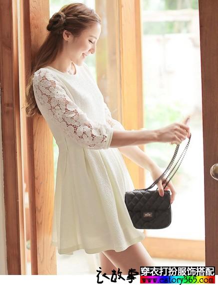 蕾丝雪纺中长袖连衣裙