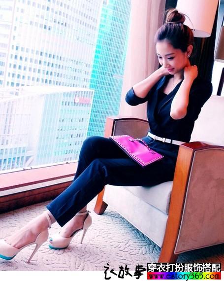 纯色V领连体长裤