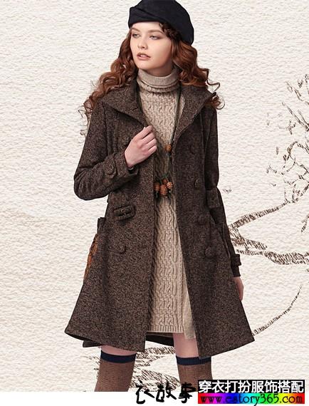 收腰中长款羊毛呢外套