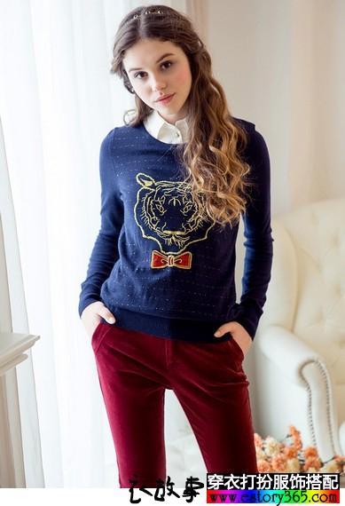 假两件条纹刺绣针织衫