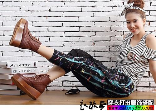菱格松糕鞋底女靴