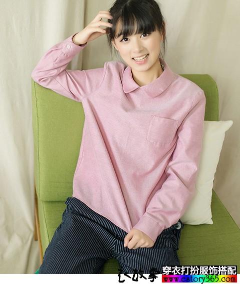 日系彼得潘领纯色衬衫