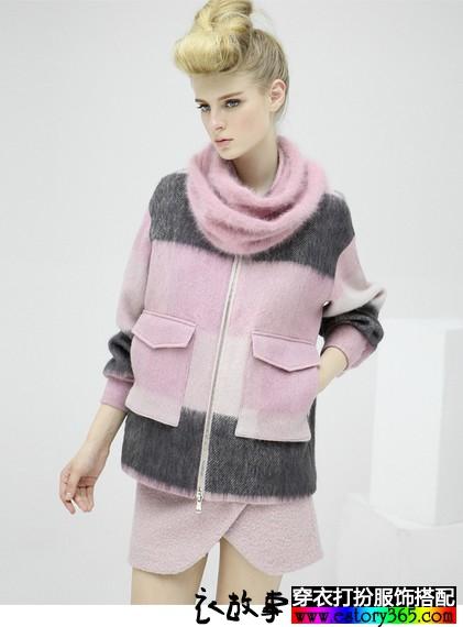 羊毛格子大口袋短款毛呢外套