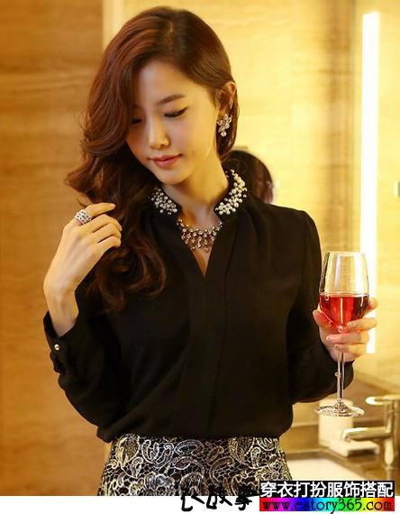 立领钉珠镶钻雪纺长袖衬衫