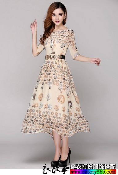 纹章印花长袖连衣裙