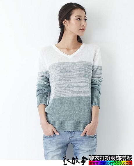 棉麻线渐变色针织衫