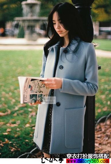 纯色羊毛呢外套