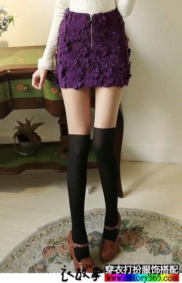 立体花朵毛呢短裙