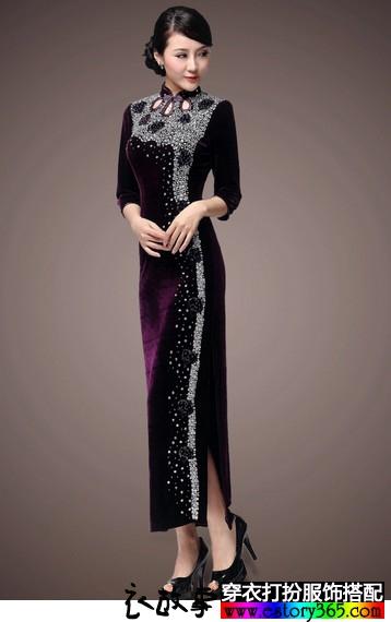 丝绒钉珠长款旗袍