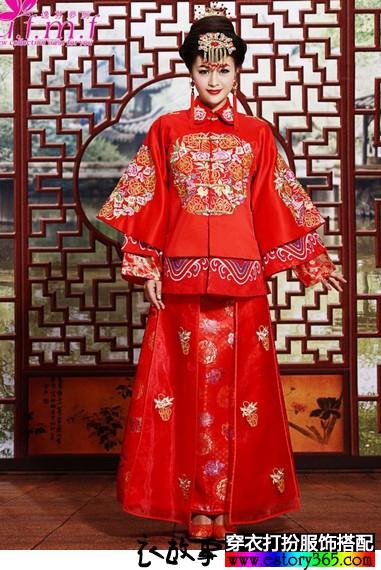 牡丹绣花清式嫁衣