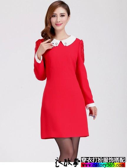 蕾丝气质长袖连衣裙