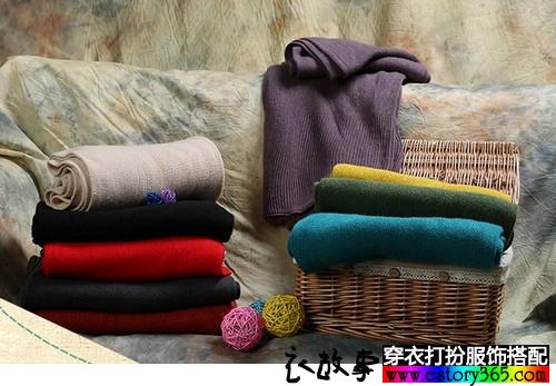 纯色毛线情侣长围巾