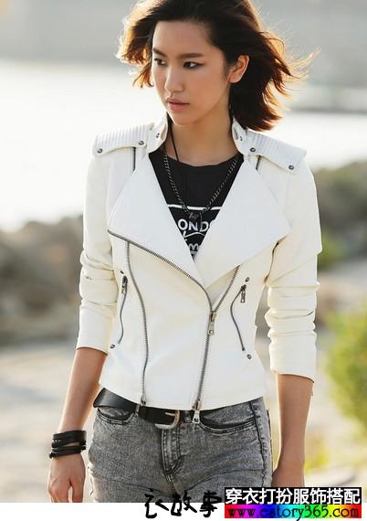 欧美风拉链短款皮夹克