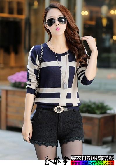 韩版低圆领毛衣