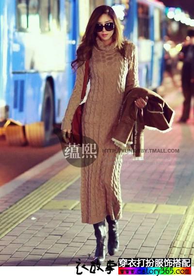 加厚高领修身中长袖毛衣裙