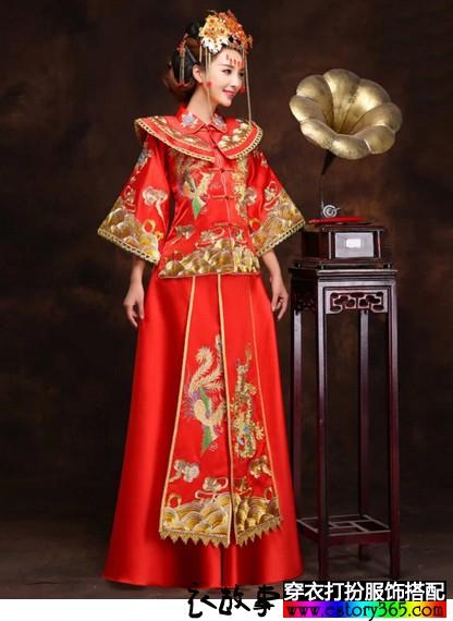 手工刺绣古典婚礼礼服