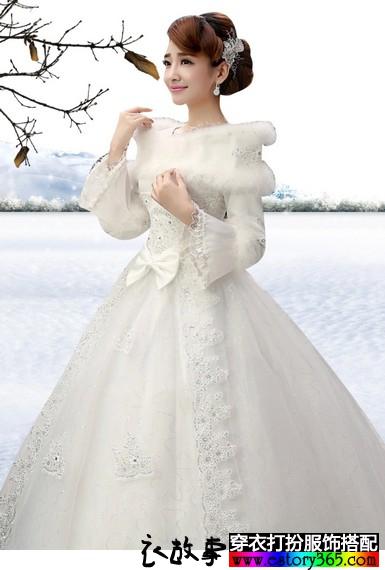 冬季长袖齐地婚纱