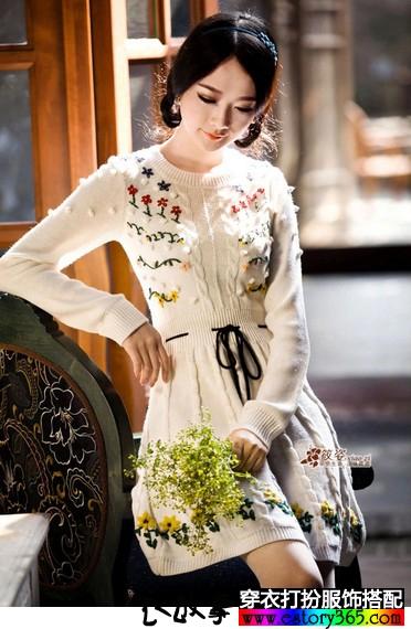 复古针织毛衣裙
