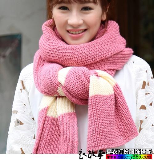 加厚毛线针织撞色条纹围巾
