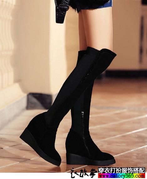 弹力瘦腿坡跟内增高长靴