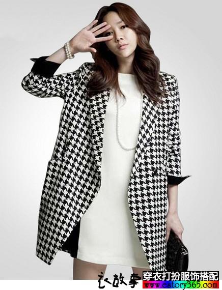 韩版中长款千鸟格西装外套