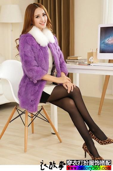 中长款兔毛皮草七分袖外套