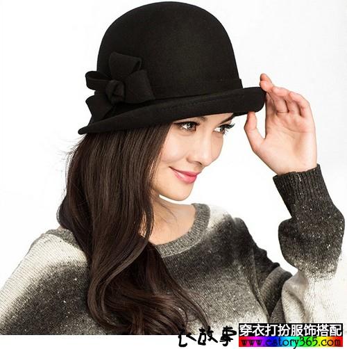 蝴蝶结羊毛礼帽