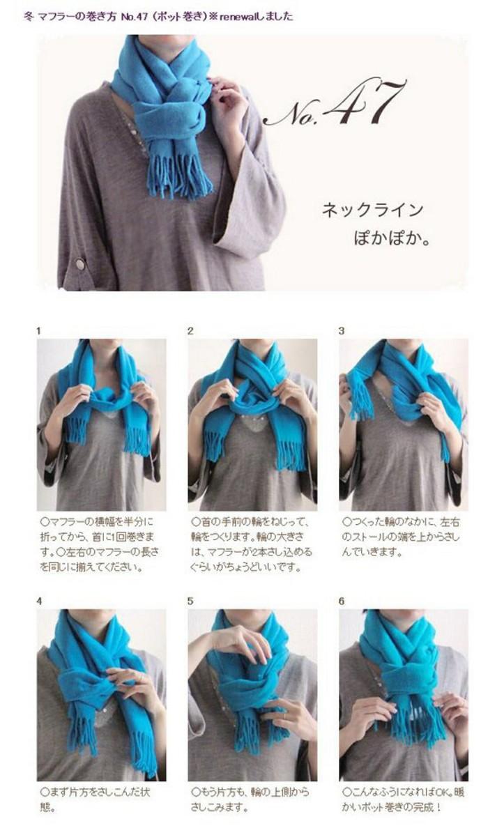 围巾的60种围法图解 60种围巾系法大全之五
