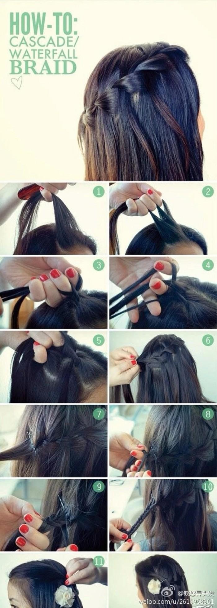 长发编织方法盘发