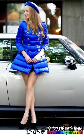 宝蓝色军旅式羽绒服