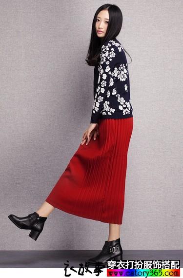 百褶针织包臀半身长裙