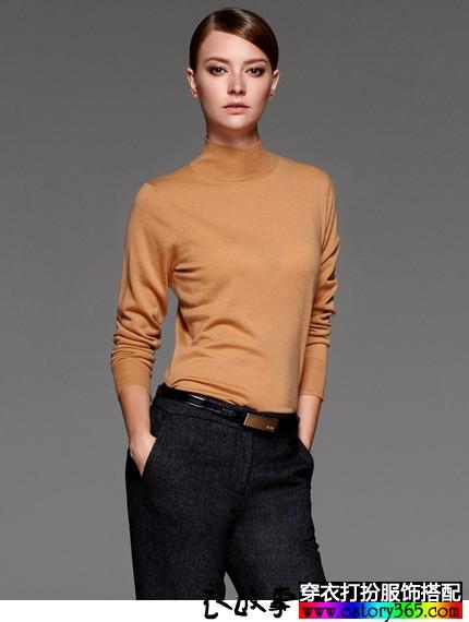 长袖高领打底纯色羊毛衫