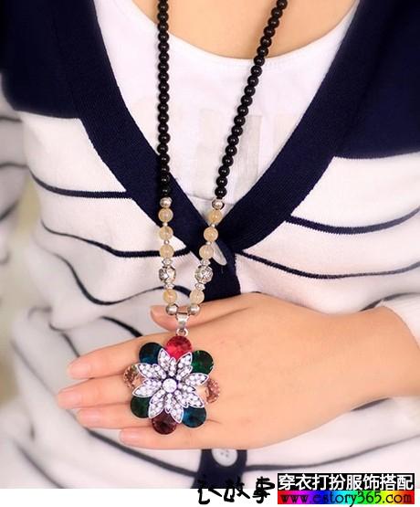 花色镶钻毛衣链