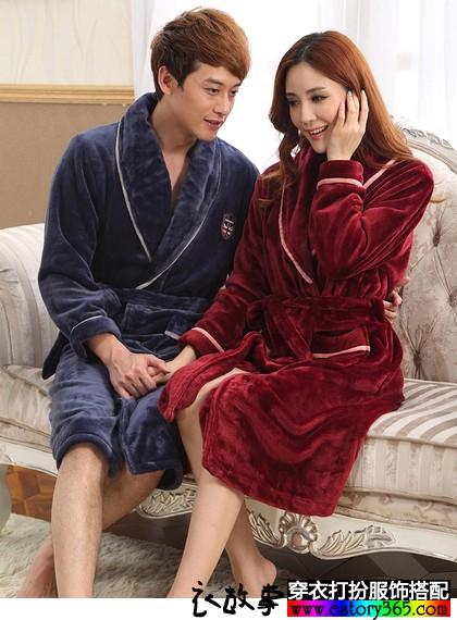 法兰绒加厚浴袍