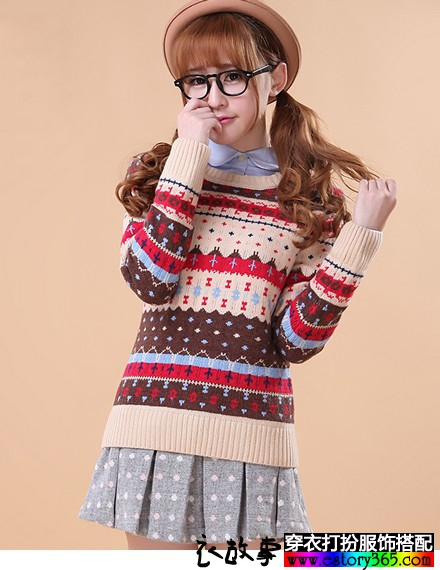 学院风复古提花圆领羊毛衫