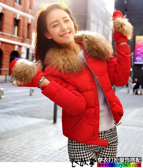 大红色修身短款羽绒服