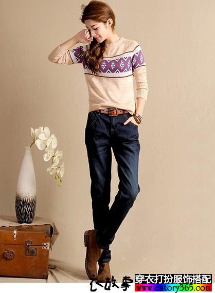 加绒宽松直筒牛仔裤