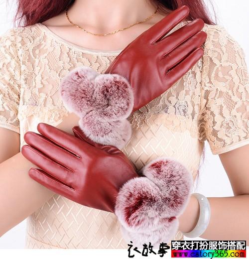 糖果色兔毛绒口手套