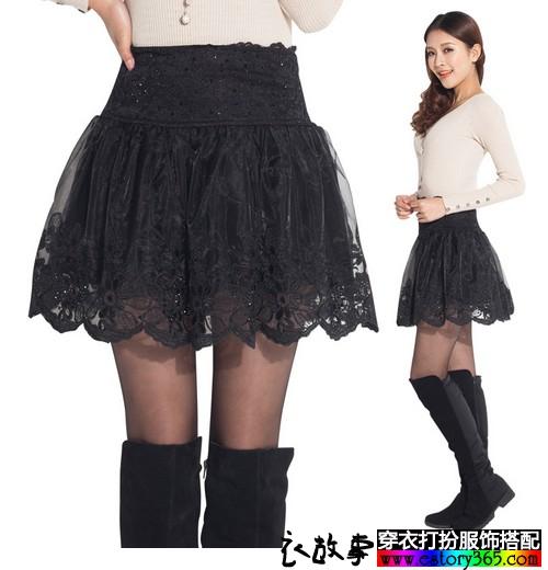 欧根纱高腰伞裙